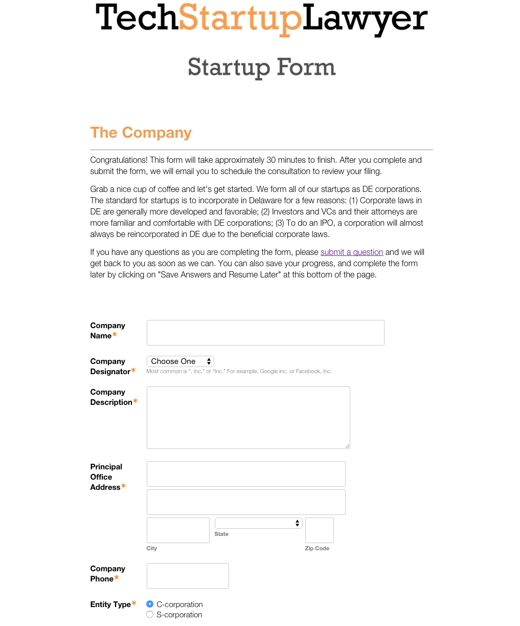 Startup Incorporation Form
